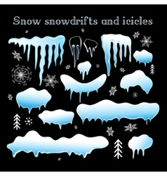 Set snow snowdrifts and icicles vector