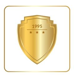 shield emblem gold white vector image vector image