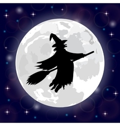 Silhouette of a witch full moon vector