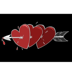 Three hearts and the arrow vector image