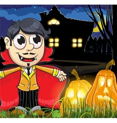Vampire boy near the haunted house vector