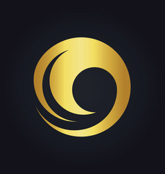 Water wave round swirl gold logo vector