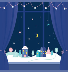 Winter holidays window decorations snowy town at vector