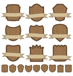 Wooden emblems vector