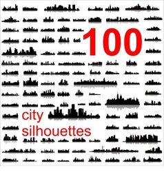 world city silhouettes vector image
