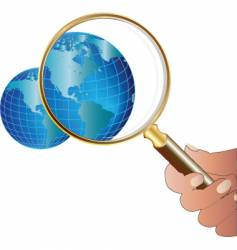 Globe magnify vector