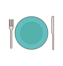 Fork knfe plate cutlery food menu icon vector