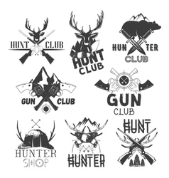 Set of hunt club labels monochrome badges vector