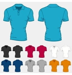 Set of colored polo-shirts templates for men vector image