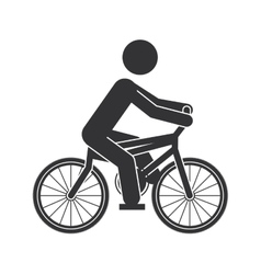 Monochrome silhouette of man in bicycle vector