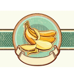 Vintage label with fresh bananas for text vector image