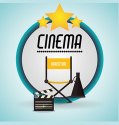 cinema director chair clapper and speaker badge vector image
