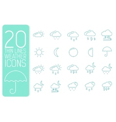 Thin line weather set icons concept design vector