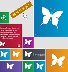 Butterfly icon sign buttons modern interface vector