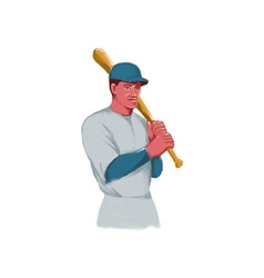 Vintage baseball player bat watercolor vector