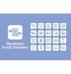 Set of electronic funds transfers simple icons vector