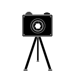 Monochrome retro camera icon vector