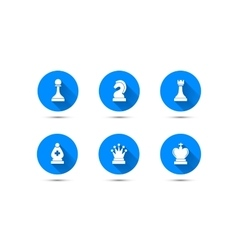 Simple chess icons with long shadow isolated on vector