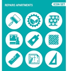 Set of round icons white repairs apartments vector