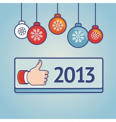 New year greeting card with like sign vector