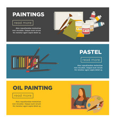 artist paiting art creative banners oil vector image