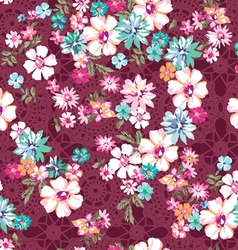 awesome ditsy floral over lace seamless vector image vector image