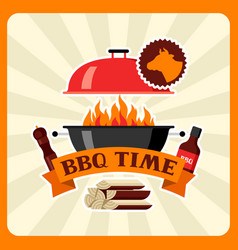 Bbq time card with grill objects and icons vector