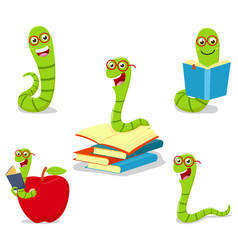 bookworm cartoon collection set vector image vector image