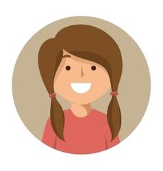 Cartoon girl student school happy icon vector