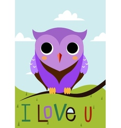 Cartoon owl on a tree branch card vector image vector image