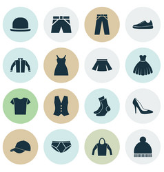 Clothes icons set collection of trilby sarafan vector