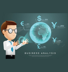 Currency businessman analysis vector