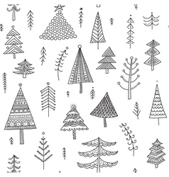 Decorated christmas trees seamless pattern vector