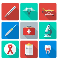flat design medical icons set vector image vector image