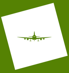 Flying plane sign front view white icon vector