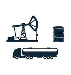 gasoline tankeroil barrel derrick pump vector image vector image
