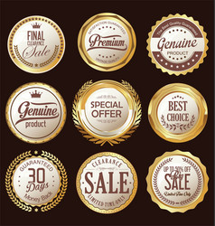 golden badges and labels collection vector image