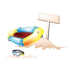 Inflatable Boat and Scuba Mask with Wooden Placard vector image
