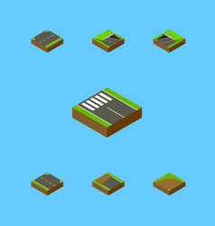 Isometric way set of sand underground rightward vector