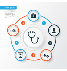 Medicine icons set collection of diagnosis pills vector