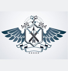 Old style heraldic emblem made with armory and vector