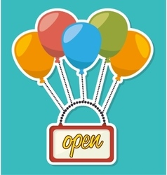 Open advert with balloons flying vector