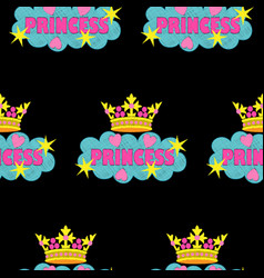Princess fashion embroidery seamless pattern vector