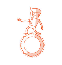 red silhouette image cartoon business man riding a vector image