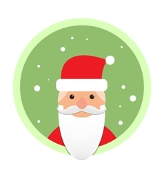 Santa Claus flat icon on green circle vector image vector image