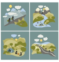 Set of outdoor leisure pictures vector image vector image