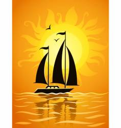 ship silhouette on sea sunset vector image vector image