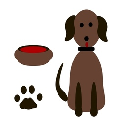Silhouette dog footprints vector image vector image