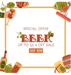 square sale banner flyer design with beer objects vector image vector image