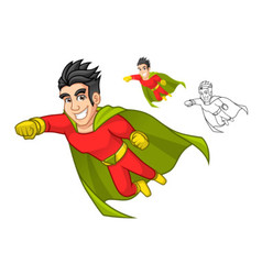 Super Hero with Cape and Flying Pose vector image vector image